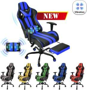 Blue Gaming Chair with Footrest